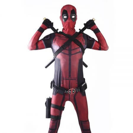 COSFANS 2018 Deadpool Costume Adult Man Spandex Lycra Zentai Bodysuit Halloween Cosplay Suit Belt Headwear Mask Sword holster 5