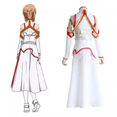 Anime Sword Art Online Asuna Yuuki Dress Cosplay Costumes Uniform for Halloween SAO Asuna Battle Suit Outfits Full Set with Wig 4
