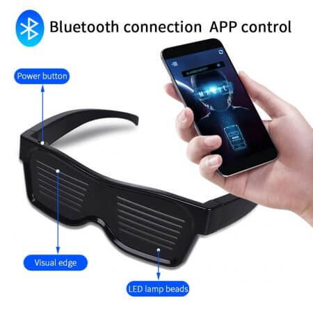 Magic Bluetooth Led Party Glasses APP Control Shield Luminous Glasses USB Charge DIY App Control Multi-lingual Quick Flash Led 2