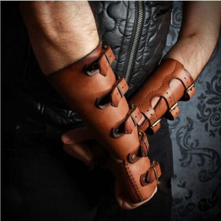Adult Men Medieval Warrior Larp Knight leather Arm Bracer with Buckle Armor Rivet Steampunk Archer Gauntlet Cosplay Costume Gear 1
