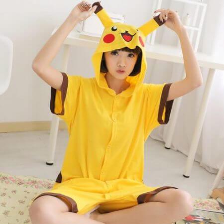 Anime pajamas Pikachu men/women adult kids short sleeve cotton cartoon pajamas summer Unisex Pokemon Cosplay Kigurumi costume