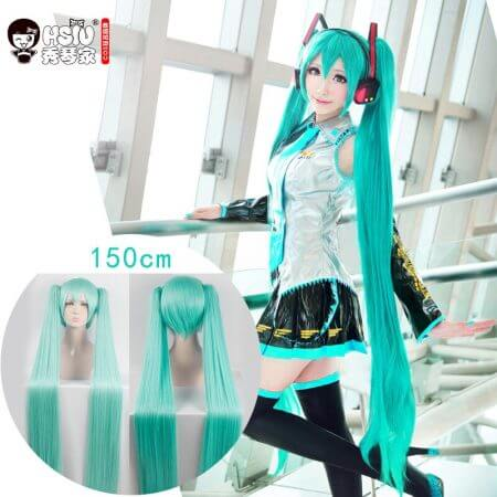 HSIU High Quality VOCALOID Cosplay Wig Hatsune Miku Costume Play Wigs Halloween party Anime Game Hair 150cm  Aquamarine wig 1