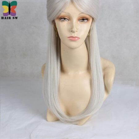 HAIR SW Long Straight Synthetic Hair Game Witcher Cosplay Wigs Silver Gray braid with bun wig For cosplayer 4