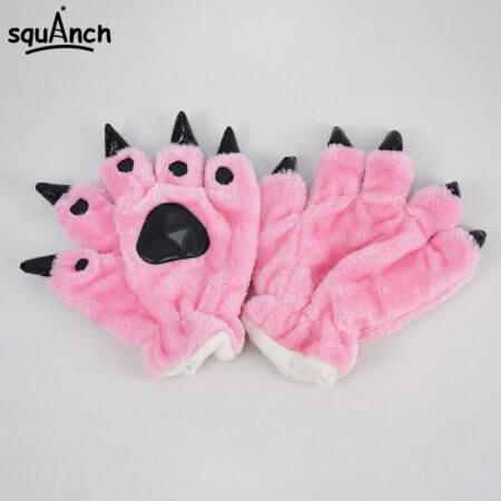 Kigurumi Animal Gloves Paw Dinosaur Bear Cat Finger Claw Winter Windproof Warm Funny Cute Fluffy Halloween Party Performance 5