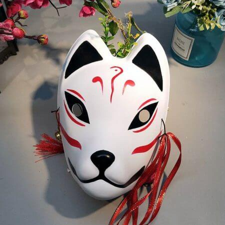 Japanese Fox Masks Full Face Hand-painted Style PVC Fox Cat Mask Cosplay Masquerade Festival Ball Kabuki Kitsune Cosplay Costume 1
