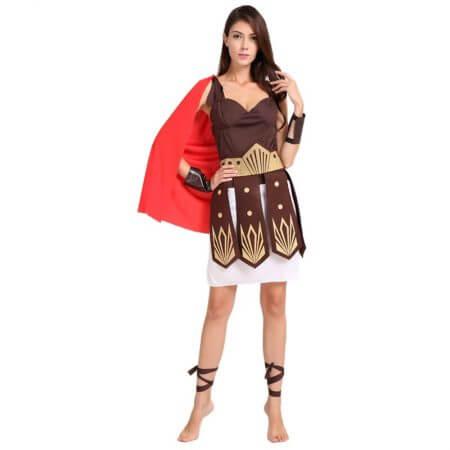 Umorden Halloween Purim Adult Ancient Roman Greek Warrior Gladiator Costume Knight Julius Caesar Costumes for Men Women Couple 3