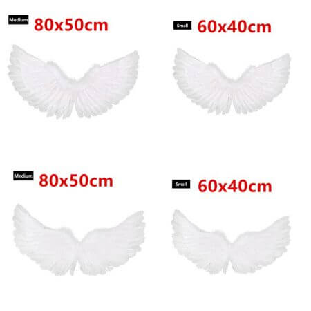 YiZYiF Children's White Feather Angel Wings for Dance Party Cosplay Costume Stage Show Masquerade Carnival Holiday Fancy Dress 5