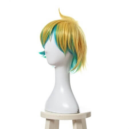 L-email wig New Arrival Game LOL Ezreal Character Cosplay Wigs 30cm Short Heat Resistant Synthetic Hair Perucas Cosplay Wig 2