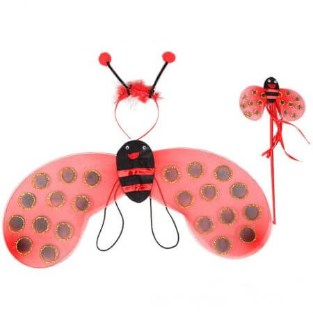 4 Piece Sets Halloween Christmas Bee Ladybug Costumes for Kids Girls Cute Party Fancy Dress Cosplay Wings+Tutu Skirts Yellow Red 3