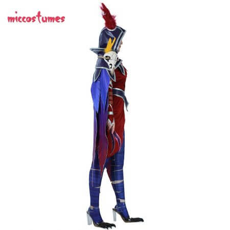 Xayah Cosplay Costume Woman The Rebel Halloween Outfit with Ears, Bird feet covers and Skull decoration 3