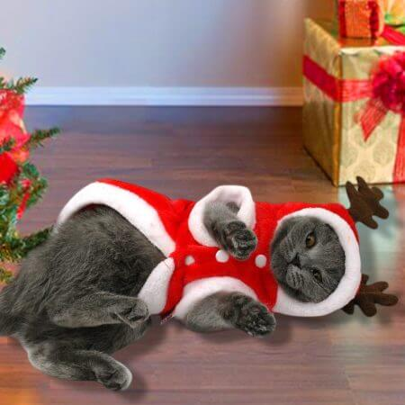 Christmas Cat Clothes Small Dogs Cats Santa Costume Kitten Puppy Outfit Hoodie Warm Pet Dog Clothes Clothing Accessories 1