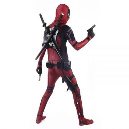 COSFANS 2018 Deadpool Costume Adult Man Spandex Lycra Zentai Bodysuit Halloween Cosplay Suit Belt Headwear Mask Sword holster 3
