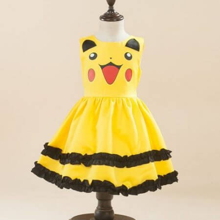 Girls Pikachu costume Cute Ball Gown Dress Kids Child Lovely Dress Costume Anime Cosplay Pokemon Go Costume Birthday Party Dress
