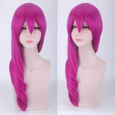 LOL League of Legends KDA Evelynn Long 55cm Straight Rose Red Synthetic Curly Hair Cosplay Wig + Wig Cap