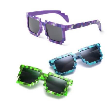 Hot 5 color Fashion Sunglasses Kids cos play action Game Toy Minecrafter Square Glasses with EVA case Toys for children gifts