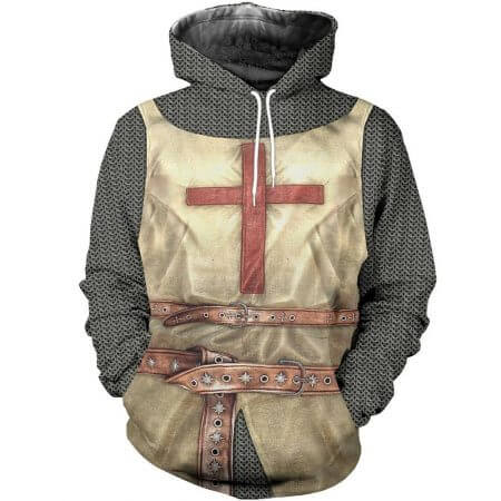 3D All Over Printed Knights Templar Tops Streetwear Hoodie Long Sleeve Pullover Custom Hoodie 2019 Hot Sale Drop Shipping 3