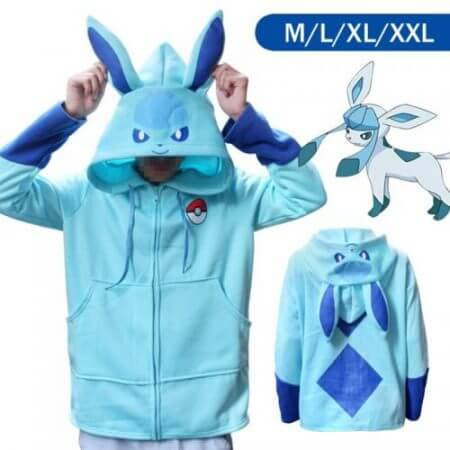 Halloween Costume Anime Pokemon Eevee Hoodies Sweatshirts Cosplay Jackets Spring/Autumn/Winter Coat for Men & Women Outdoor Wear 1