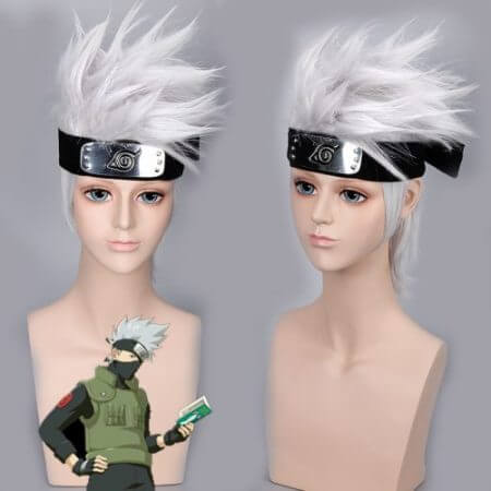 Anime NARUTO Hatake Kakashi Cosplay Wig Silver White Short Heat Resistant Sythentic Hair Wigs + Headband + Mask