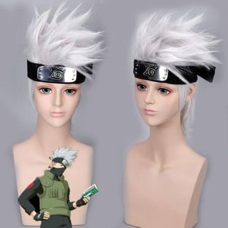 Anime NARUTO Hatake Kakashi Cosplay Wig Silver White Short Heat Resistant Sythentic Hair Wigs + Headband + Mask