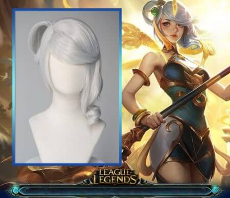 Game League of Legends LUNAR EMPRESS LUX Cosplay Wig Synthetic white Straight Hair