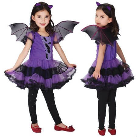 90-160cm Girls Halloween Purple Bat Vampire Princess Dress Wing Headband Cosplay Costume Kids Sets Scary Clown Witch Clothes 5