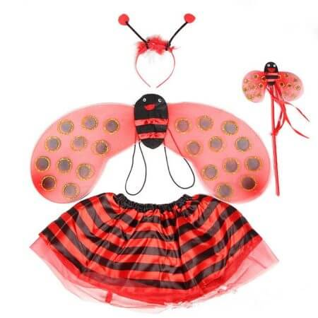 4 Piece Sets Halloween Christmas Bee Ladybug Costumes for Kids Girls Cute Party Fancy Dress Cosplay Wings+Tutu Skirts Yellow Red 1
