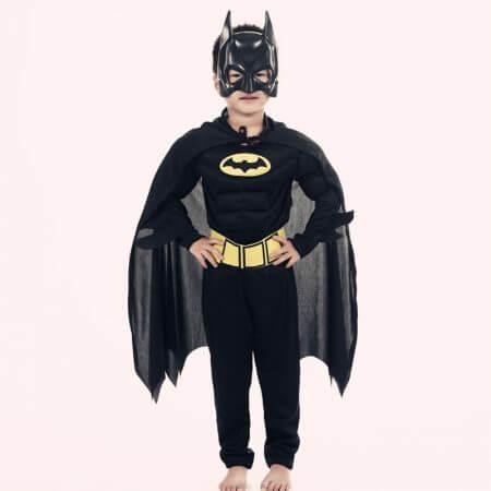 Muscle Batman Costumes,Superman Batman Movie Classic costume halloween for KIds Boys Justice league infantile superhero Clothes 3