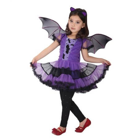 90-160cm Girls Halloween Purple Bat Vampire Princess Dress Wing Headband Cosplay Costume Kids Sets Scary Clown Witch Clothes