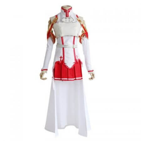 Anime Sword Art Online Asuna Yuuki Dress Cosplay Costumes Uniform for Halloween SAO Asuna Battle Suit Outfits Full Set with Wig 1