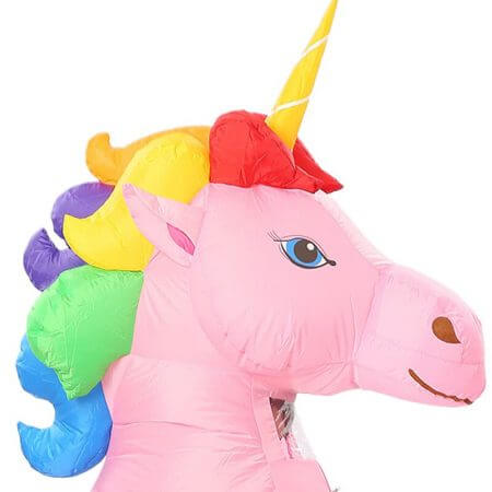 New Adult Kids Inflatable Unicorn Costume Pony Halloween Costumes for Women Men Cosplay Fantasia Party Inflatable Suit Jumpsuit 2