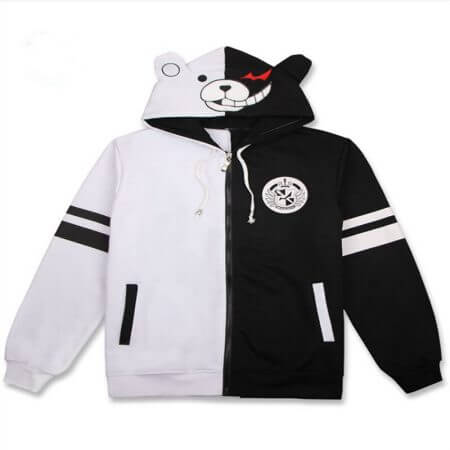 Anime Danganronpa Monokuma Cosplay Costume Unisex Hoodie Sweatshirt Hooded Black White Bear Long Sleeve daily casual coat Jacket 4