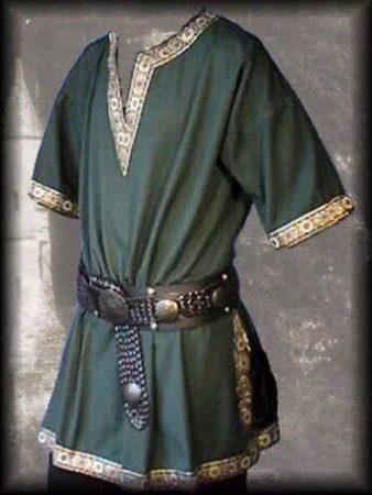 Adult Men Medieval Knight Warrior Costume Green Tunic Clothing Norman Chevalier Braid Viking Pirate Saxon LARP Top Shirt For Men 2
