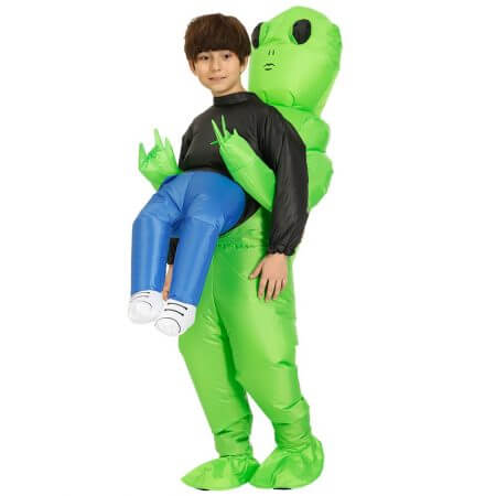 New Purim Scary Green Inflatable Alien costume Cosplay Mascot Inflatable Monster suit Party Halloween Costume for Kids Adult 2
