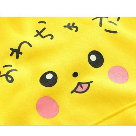 Szblaze Anime Pokemon Pikachu Print velvet Cotton Hoodies with Long Ears Kawaii Girls Cute  Pullovers Women Cotton Cosplay Top 3