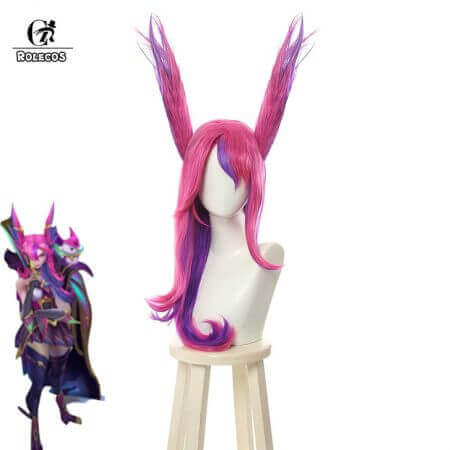 ROLECOS Game LOL Xayah Cosplay Hair Ears Star Guardians Cosplay Group Long Mixed Pink Purple Synthetic Xayah Cosplay Hair