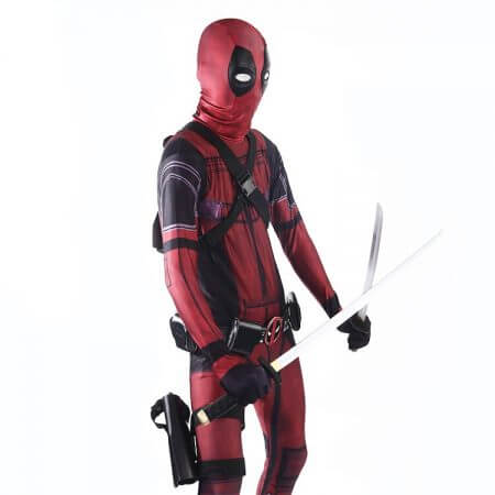 COSFANS 2018 Deadpool Costume Adult Man Spandex Lycra Zentai Bodysuit Halloween Cosplay Suit Belt Headwear Mask Sword holster 2