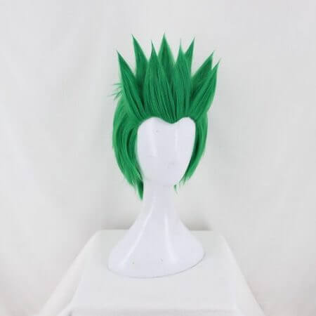 Anime Overwatch Genji OW Short Green Cosplay Costume Wig Slicked-back Heat Resistant Synthetic Hair + Free Wig Cap 2
