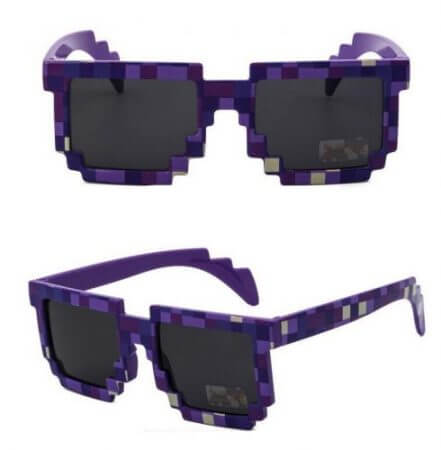 Hot 5 color Fashion Sunglasses Kids cos play action Game Toy Minecrafter Square Glasses with EVA case Toys for children gifts 2