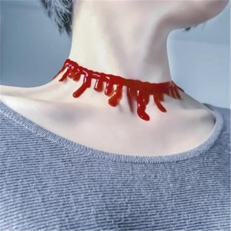 Halloween Decoration Horror Blood Drip Necklace Fake Blood Vampire Fancy Joker Choker Costume Necklaces Party Accessories June12 1
