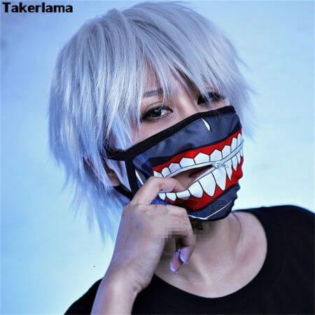 Takerlama Kaneki Ken Face Masks Zipper Cycling Anti-Dust Anime Tokyo Ghoul Cosplay Mask