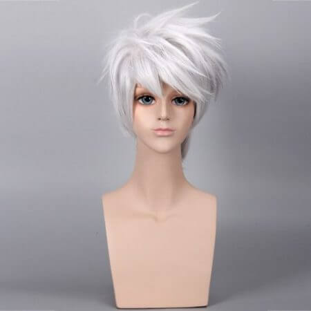 Anime NARUTO Hatake Kakashi Cosplay Wig Silver White Short Heat Resistant Sythentic Hair Wigs + Headband + Mask 1