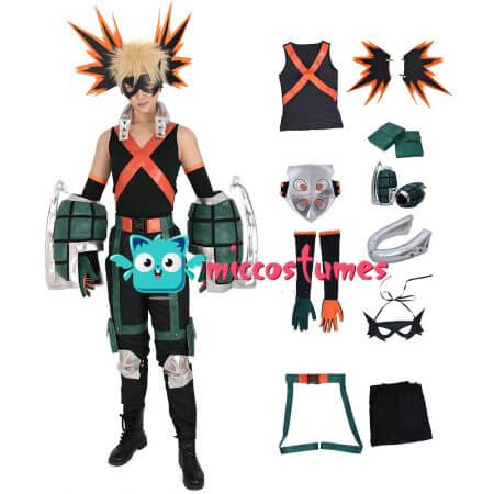My Hero Academia Katsuki Bakugo Kacchan Cosplay Costume Fullset Hero Suit with Mask and Gauntlets 1