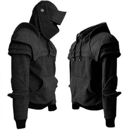 Vintage Medieval Knight Men Hoodies Warrior Soldier Hooded Sweatshirt Male Mask Armor Pullover Cosplay Costume Plus Size Tops 2