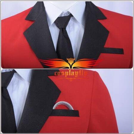 Kakegurui: Compulsive Gambler Manyuuda Kaede Suzui Ryota Cosplay Costume Custom Men Uniform Red Jacket Printed Pants Shirt Tie 3