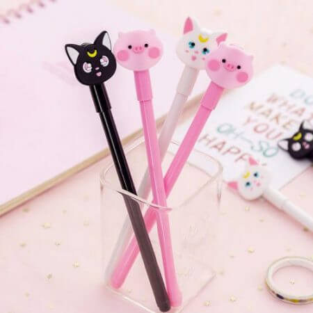 Anime Sailor Moon Luna Cat Cosplay Cute Cartoon Pink Pig Writing Painting Pens Tool Stationery Girl Student 0.5mm Gel Pen Props 2