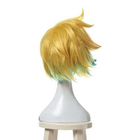 L-email wig New Arrival Game LOL Ezreal Character Cosplay Wigs 30cm Short Heat Resistant Synthetic Hair Perucas Cosplay Wig 3