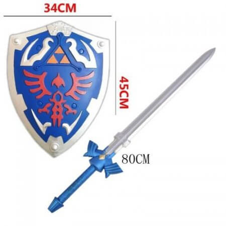 2 Pcs/Set 1:1 Cosplay Skyward Sword & Shield Link Safety PU Material Weapon Sword Safety PU Kids Gift
