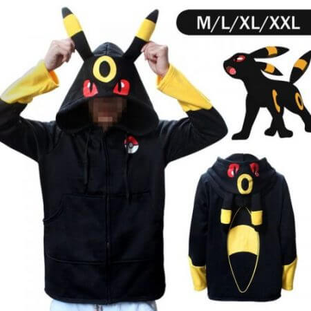 Halloween Costume Anime Pokemon Eevee Hoodies Sweatshirts Cosplay Jackets Spring/Autumn/Winter Coat for Men & Women Outdoor Wear 4