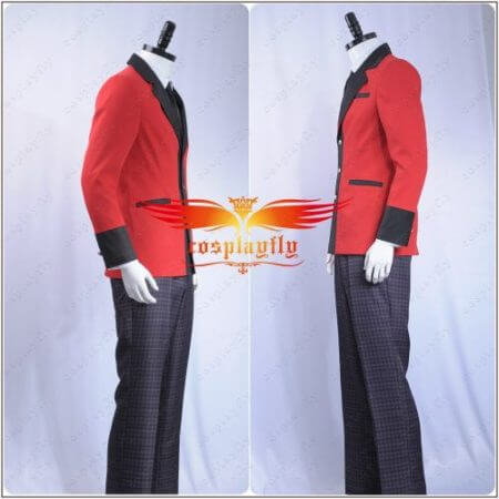 Kakegurui: Compulsive Gambler Manyuuda Kaede Suzui Ryota Cosplay Costume Custom Men Uniform Red Jacket Printed Pants Shirt Tie 2