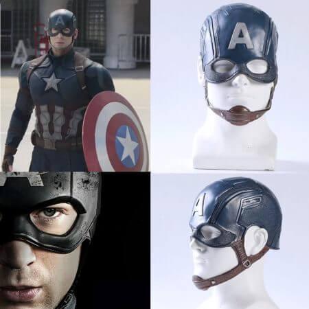 Movie Captain America 3 Civil War Captain America Mask Cosplay Steven Rogers Superhero Latex Helmet Halloween For Men Party Prop 1